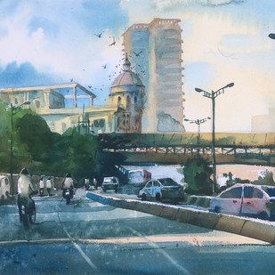 Watercolor Painting at Powai Lake 04 by Prashant Sarkar, Impressionism Painting, Watercolor on Paper, Green color