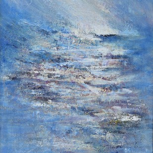The Morning Rays by Mahesh Sharma, Impressionism Painting, Acrylic on Canvas, Blue color