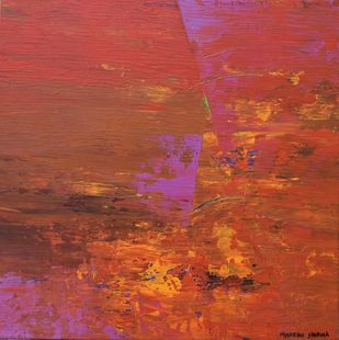 Footprints of the Sun by Mahesh Sharma, Abstract Painting, Acrylic on Canvas, Brown color