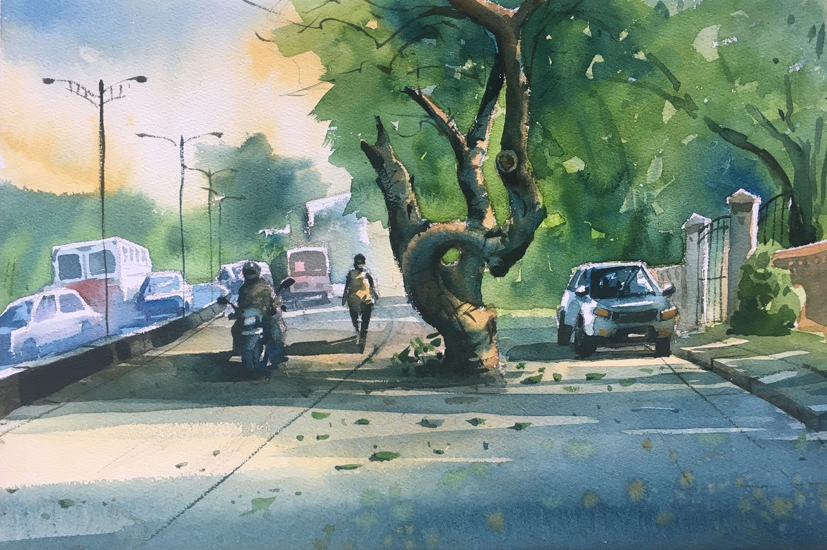 Watercolor Painting at Powai Lake 05 by Prashant Sarkar, Impressionism Painting, Watercolor on Paper, Green color