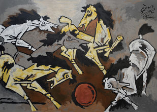 Horses by M F Husain, Expressionism Printmaking, Serigraph on Paper, Gray color