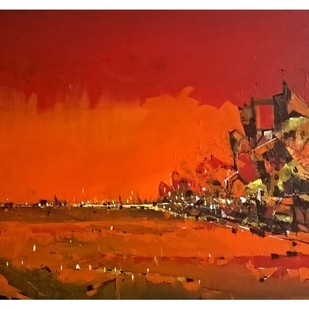 Dawn by Dnyaneshwar Dhavale , Abstract Painting, Acrylic on Canvas, Brown color