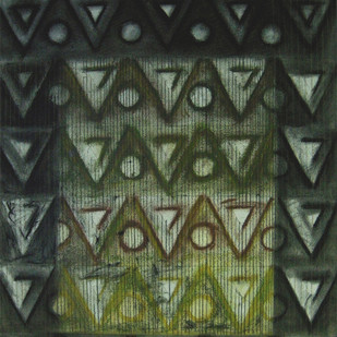 SERIAL TRIANGLES 3 by V .Hariraam , Geometrical Painting, Pastel on Paper, Green color