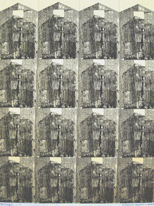 IVORY TOWERS by V .Hariraam , Geometrical Printmaking, Print on Paper, Brown color