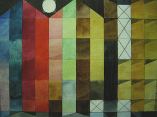A STATION FOR TRAVELERS by V .Hariraam , Geometrical Painting, Watercolor on Paper, Green color