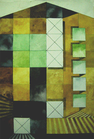 A STATION FOR TRAVELERS 1 by V .Hariraam , Geometrical Painting, Watercolor on Paper, Green color
