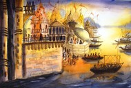 Morning Light in Banaras by Anirban Seth, Impressionism Painting, Watercolor on Paper, Brown color