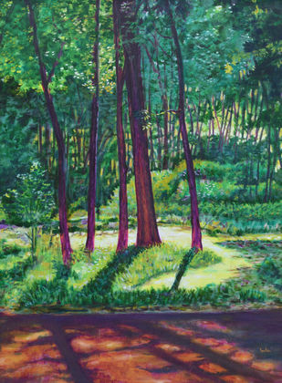 Sunlight Peeping Through by Usha Shantharam, Impressionism Painting, Oil on Canvas, Green color