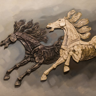Flying Horses 3 by Aziz, Impressionism Painting, Mixed Media on Canvas, Brown color