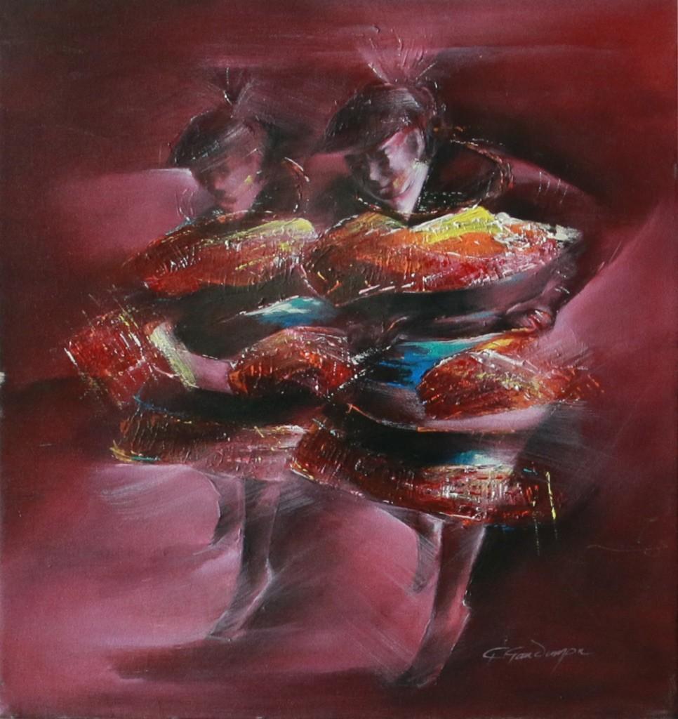 Dancers by Golmei Gandumpu, Impressionism Painting, Acrylic on Canvas, Brown color