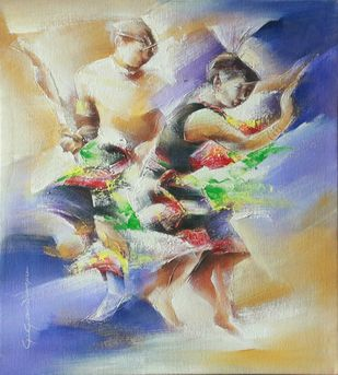 Dancers 2 by Golmei Gandumpu, Impressionism Painting, Acrylic on Canvas, Beige color