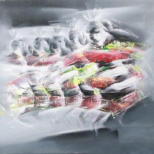 Dancers 3 by Golmei Gandumpu, Impressionism Painting, Acrylic on Canvas, Pink color