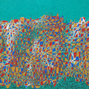 City scape by Ramakrishna Vasanthula, Expressionism Painting, Acrylic on Canvas, Brown color