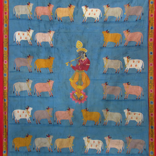 Krishna with Cows by Unknown Artist, Folk Painting, Stone Colour on Cloth, Green color