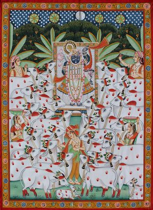 shri nath ji with cows by Unknown Artist, Folk Painting, Stone Colour on Cloth, Brown color