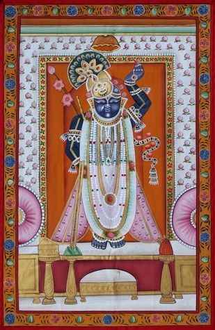 shree nath ji by Unknown Artist, Folk Painting, Stone Colour on Cloth, Brown color