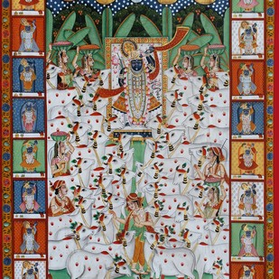shree nath ji with cows by Unknown Artist, Folk Painting, Stone Colour on Cloth, Brown color
