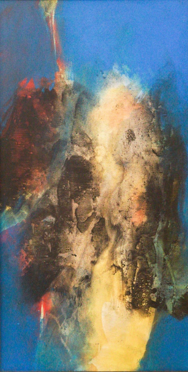 Abstract 2 by Uttam Chapte, Abstract Painting, Acrylic on Canvas, Brown color