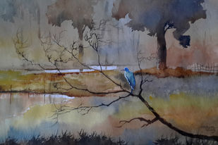 Solitude by Mopasang Valath, Expressionism Painting, Watercolor on Paper, Brown color