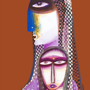 Mother and daughter by Arun K Mishra, Expressionism Painting, Acrylic on Canvas, Brown color