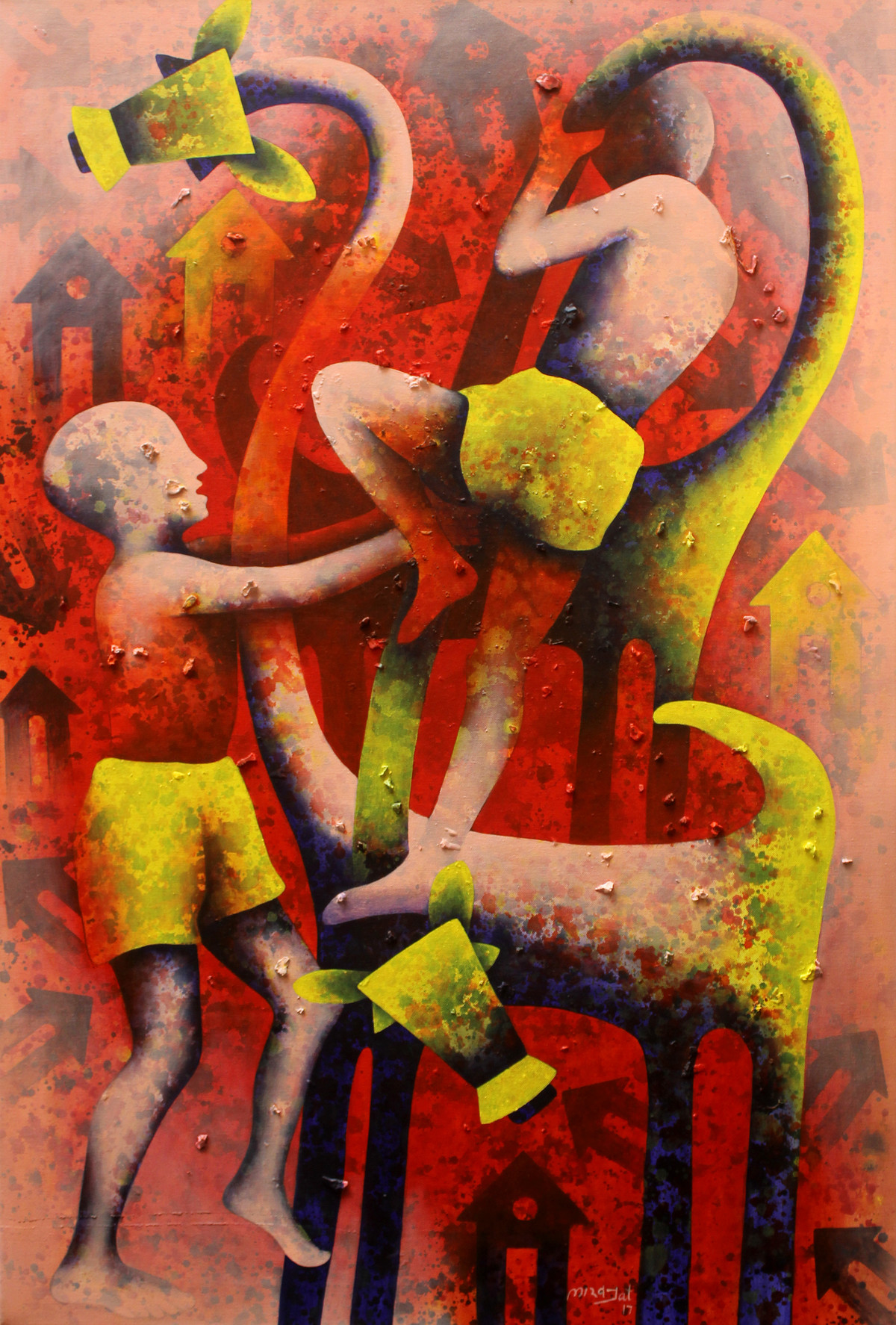 athkheliya by Lakhan Singh Jat, Expressionism Painting, Acrylic on Canvas, Brown color