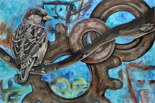 Graffiti Sparrow by Christina Banerjee, Impressionism Painting, Gouache on Paper, Green color