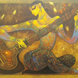 Sitar player.2. by Ramesh p.gujar, Expressionism Painting, Acrylic on Canvas, Brown color