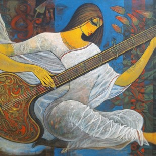 Sitar player.1. by Ramesh p.gujar, Expressionism Painting, Acrylic on Canvas, Gray color