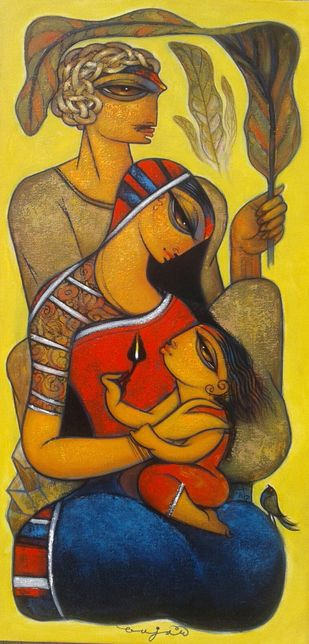 Family.6. by Ramesh p.gujar, Expressionism Painting, Acrylic on Canvas, Brown color