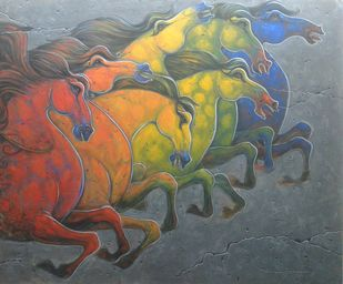Horse.1. by Ramesh p.gujar, Decorative Painting, Acrylic on Canvas, Brown color