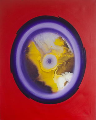 Eye of the cyclone by Vernika , Abstract Painting, Acrylic on Canvas, Red color
