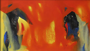 Untitled by Ganesh Doddamani, Abstract Painting, Acrylic on Canvas, Red color