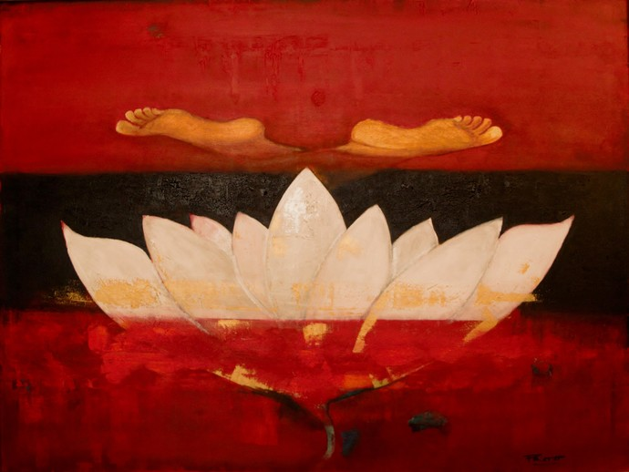 The Lotus Buddha Ill by Pratap SJB Rana, Expressionism Painting, Acrylic on Canvas, Red color