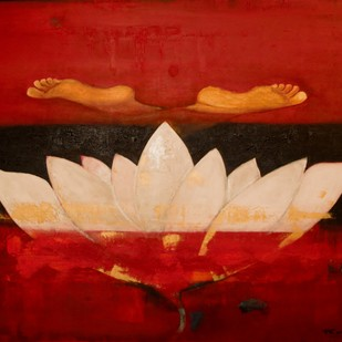 The Lotus Buddha III by Pratap SJB Rana, Expressionism Painting, Acrylic on Canvas, Red color