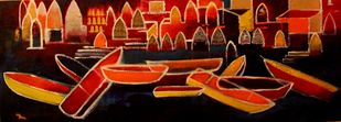 Kashi VI by Pratap SJB Rana, Expressionism Painting, Acrylic on Canvas, Brown color