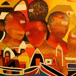 Kashi VII by Pratap SJB Rana, Expressionism Painting, Acrylic on Canvas, Brown color