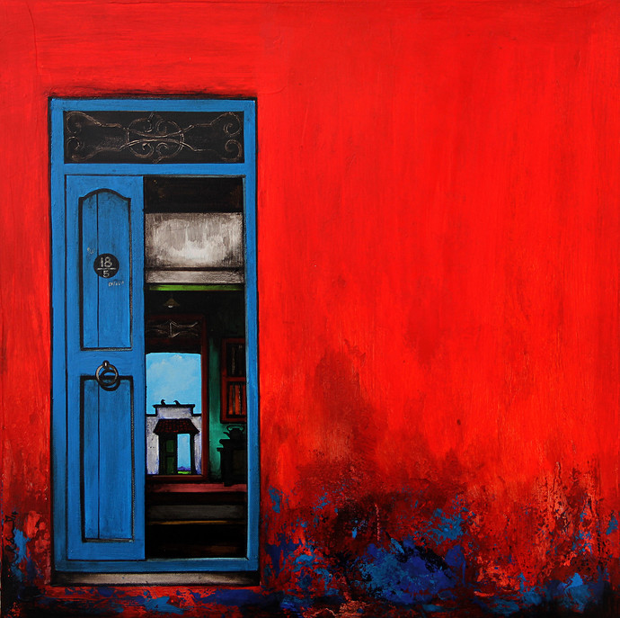 Door 20 by K R Santhanakrishnan Geometrical Painting Acrylic on Canvas Red color & Door 20 by artist K R Santhanakrishnan \u2013 Geometrical Painting ...