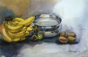 Kiwi and Banana -1 by Shyamal Karmokar, Impressionism Painting, Watercolor on Paper, Gray color