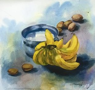 kiwi & banana -2 by Shyamal Karmokar, Impressionism Painting, Watercolor on Paper, Green color