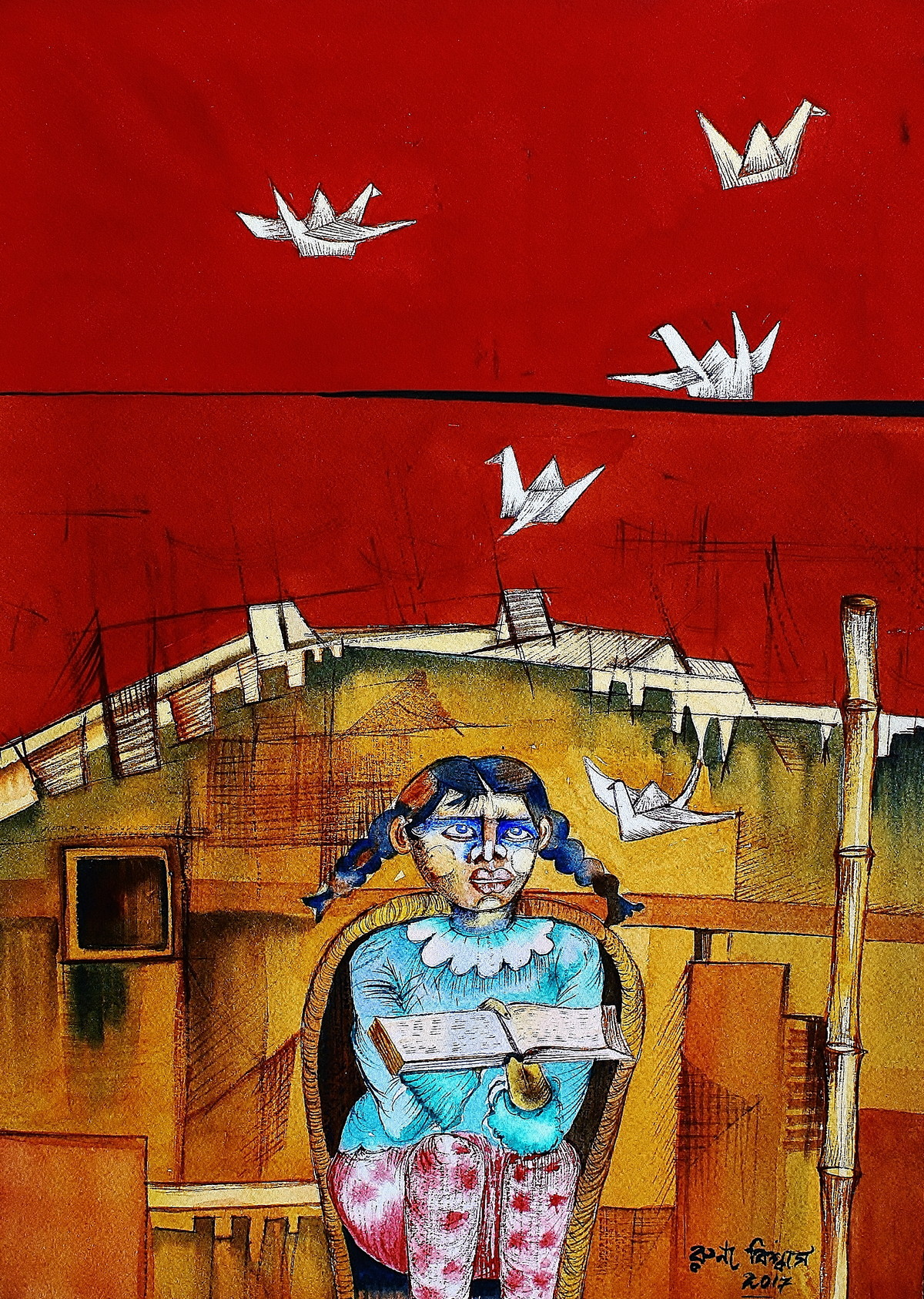 Mann Mayuri by Runa Biswas, Expressionism Painting, Watercolor on Paper, Red color