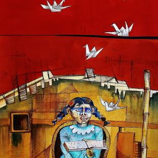 Mann Mayuri Digital Print by Runa Biswas,Expressionism