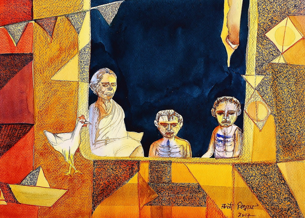 Famine by Runa Biswas, Expressionism Painting, Mixed Media on Paper, Brown color