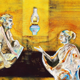 Untitled by Runa Biswas, Expressionism Painting, Water Based Medium on Paper, Brown color