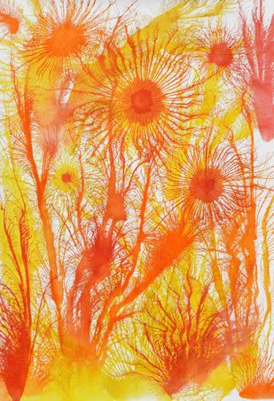 Exploflora Series No. 32 by Sumit Mehndiratta, Abstract Painting, Acrylic on Canvas, Orange color