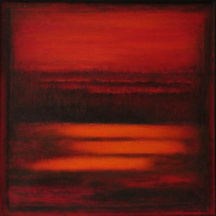 red landscape by P. Saraswati, Abstract Painting, Acrylic on Canvas, Brown color