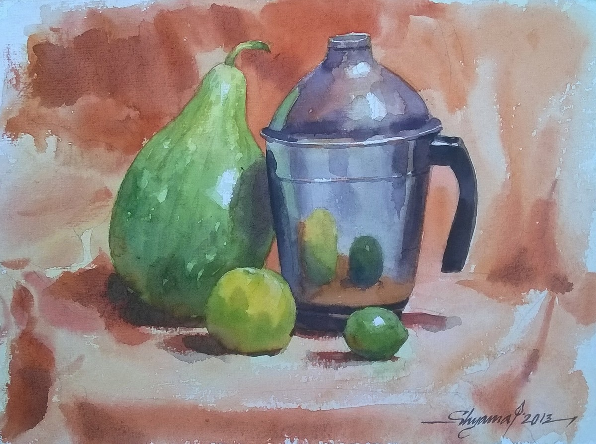 bottlegourd by Shyamal Karmokar, Impressionism Painting, Watercolor on Paper, Brown color