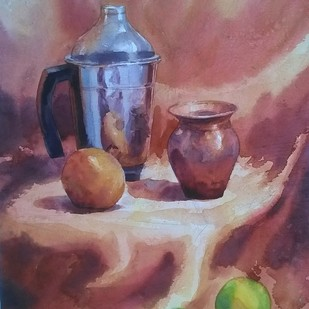 grinder pot by Shyamal Karmokar, Impressionism Painting, Watercolor on Paper, Brown color