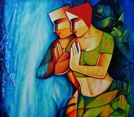 life 153 by Nawal Kishore, Expressionism Painting, Acrylic on Canvas, Blue color