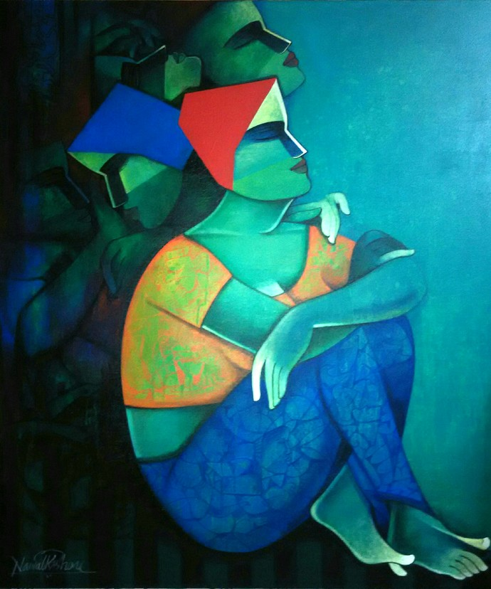 life 155 by Nawal Kishore, Expressionism Painting, Acrylic on Canvas, Blue color