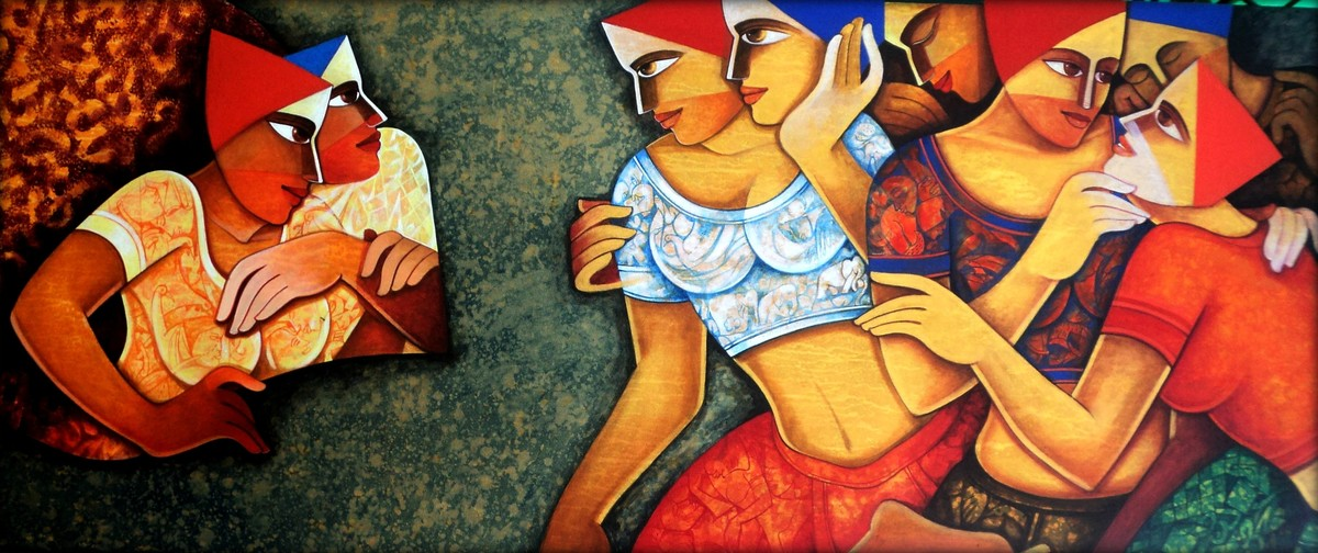 life 96 by Nawal Kishore, Expressionism Painting, Acrylic on Canvas, Brown color